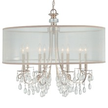 Crystorama 5628-EB - Hampton 8 Light Drum Shade Bronze Chandelier