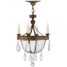 Visual Comfort CHC 2138GI-CG - Devon Mini Glass Bowl Chandelier in Gilded Iron