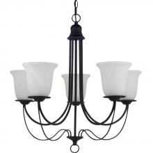Generation Lighting - Seagull 31292BLE-839 - Fluorescent Plymouth Five Light Chandelier in Blacksmith with Sand Blasted Alabaster Glass